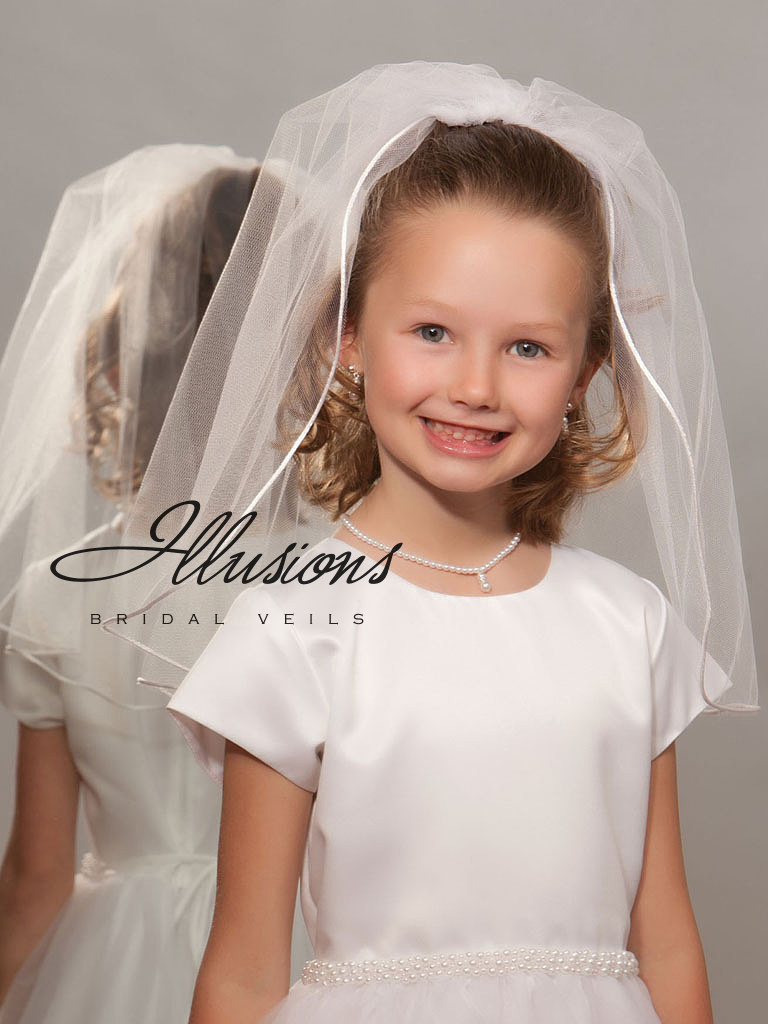 First Communion Veil with Rattail Edge