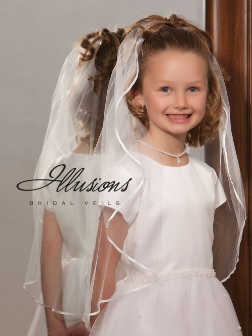 Girls First Communion Veil with Ribbon Trim