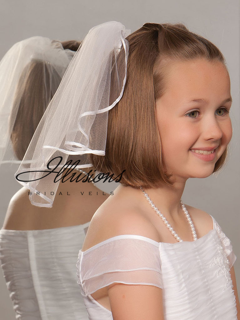 First Communion Veil with Satin Trim