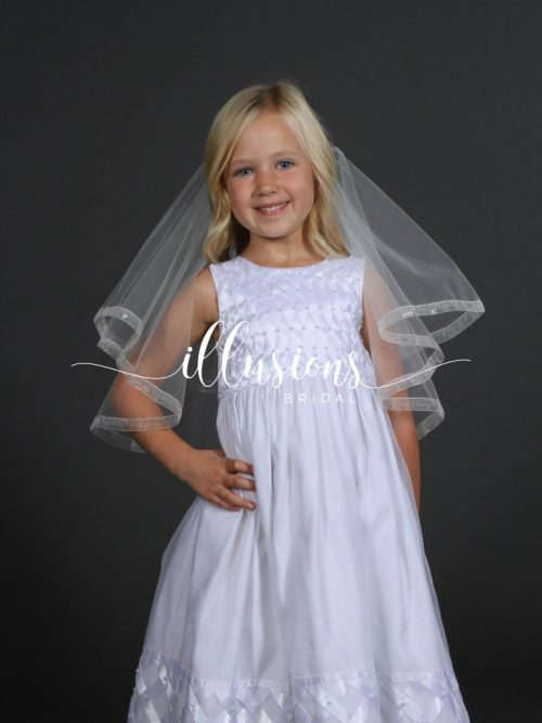 First Communion Veil with Sheer Ribbon Trim