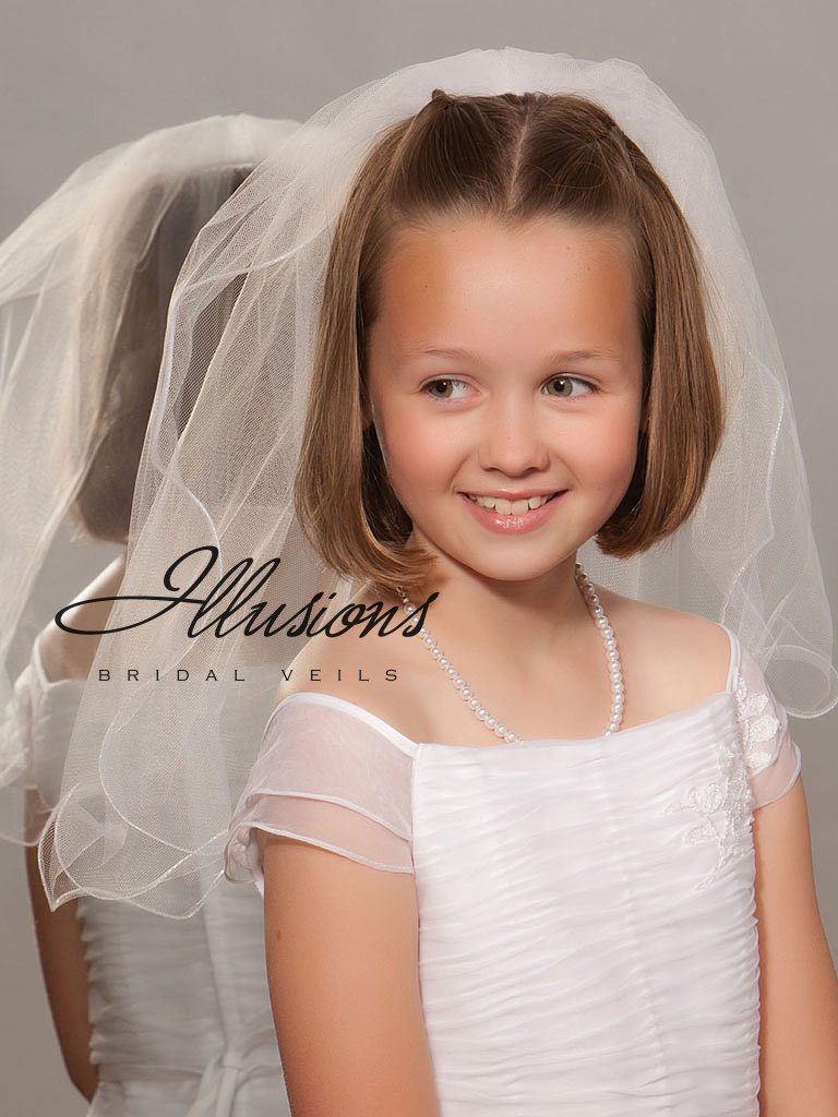 First Communion Veil with Wavy Edge