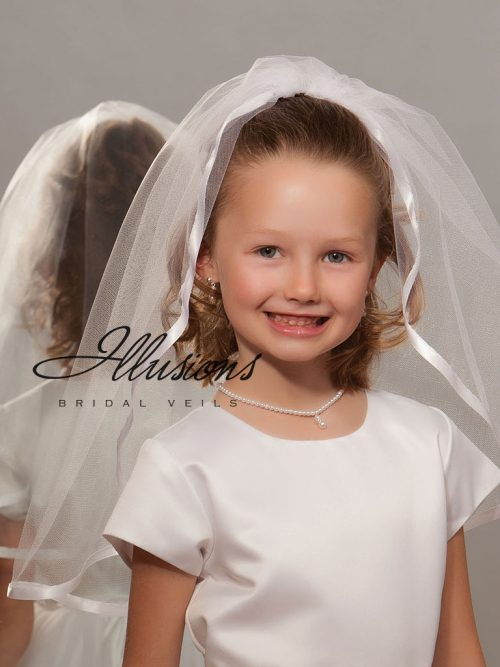 First Communion Veil with Wide Satin Trim