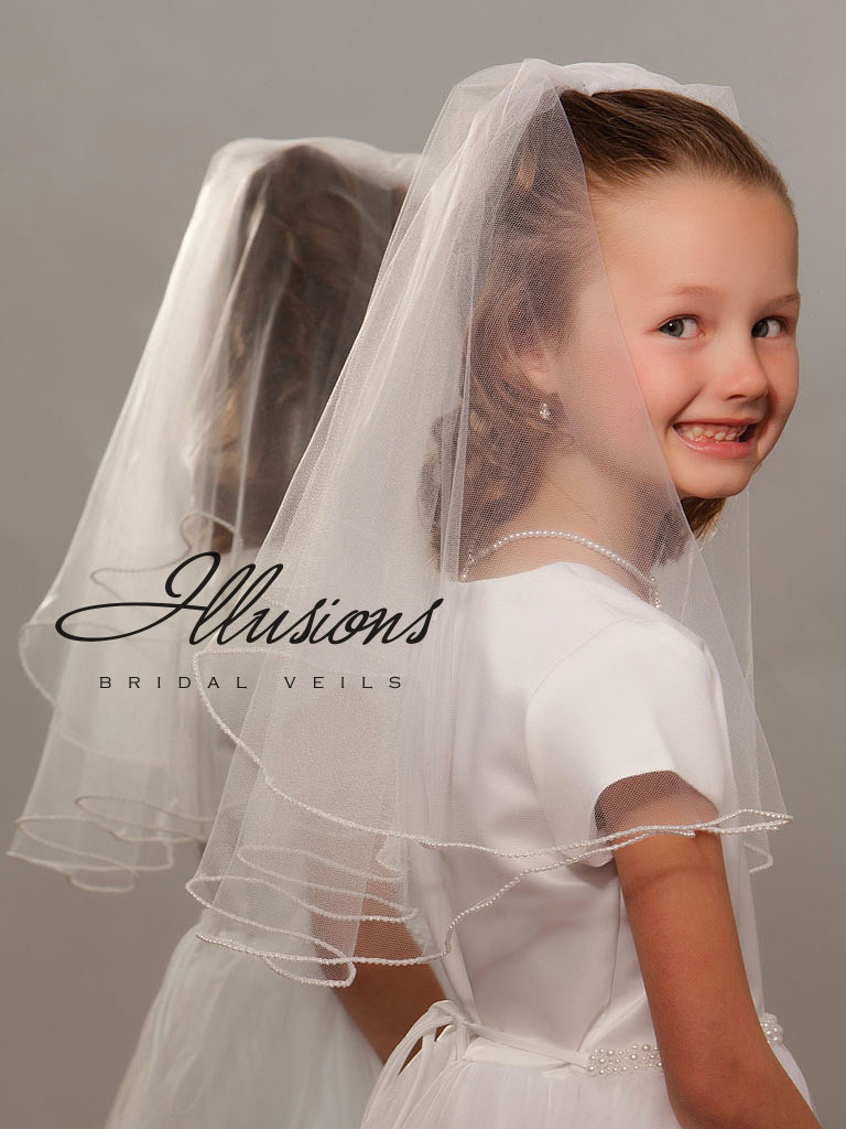 First Communion Veil with Pearl Edge