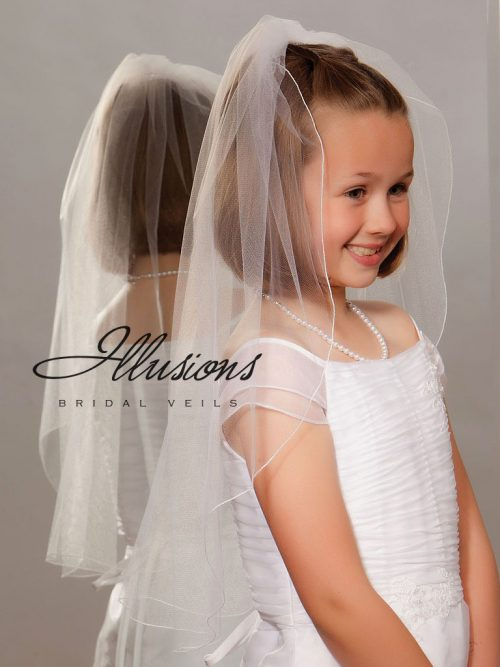 Single Tier First Communion Veil with Corded Edge