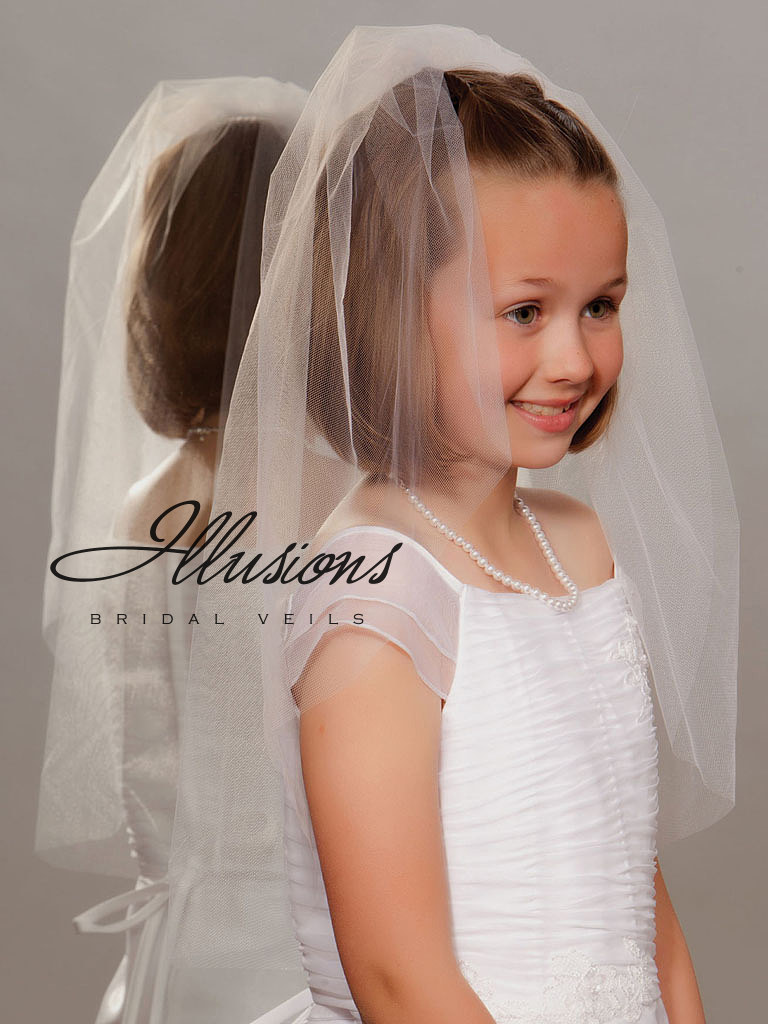 Single Tier First Communion Veil with Cut Edge