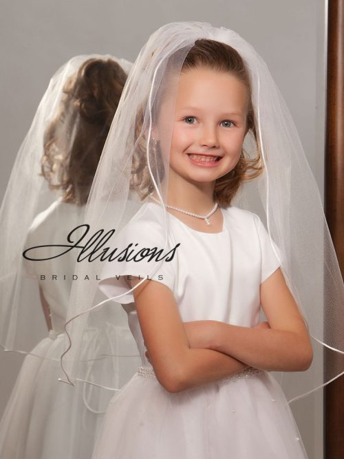 Single Tier First Communion Veil with Rattail Edge