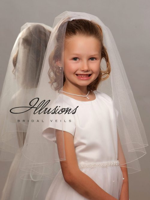 Two Layer First Communion Veil with Corded Edge