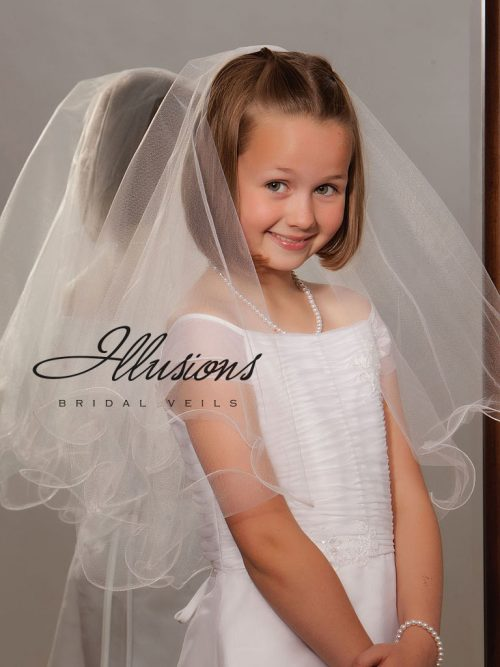 Two Layer First Communion Veil with Wavy Edge