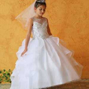 Beautiful First Communion Ball Gown Dress with Ruffled Trim