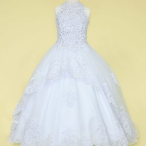 Embroidery Lace 1st Communion Ball Gown Dress