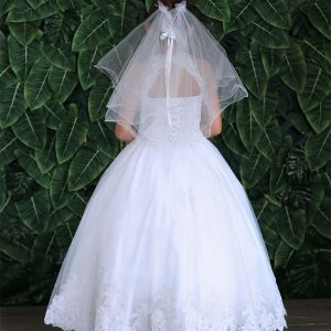 Embroidery Lace First Communion Ball Gown Dress for Girls