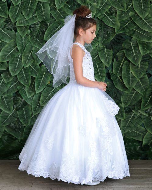 Embroidery Lace First Communion Ball Gown Dress
