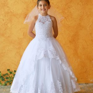 Embroidery Lace Holy Communion Ball Gown Dress