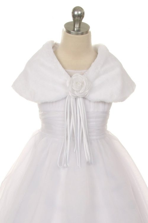 Faux Fur First Communion Shawls with Flower
