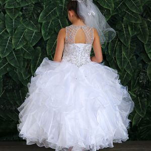 First Communion Ball Gown Dress with Ruffled Organza Skirt