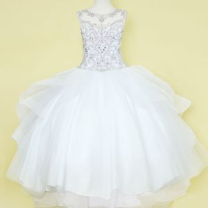 First Holy Communion Ball Gown Dress with Ruffled Trim