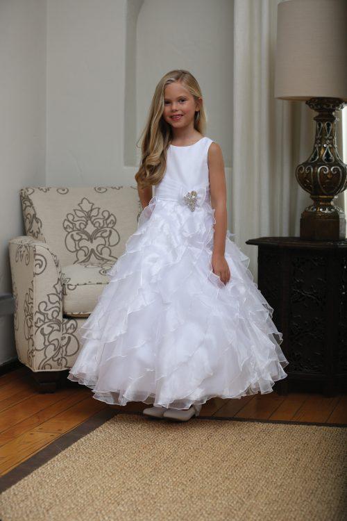 bca7abb3565 Floor Length First Communion Dress with Ruffled Skirt