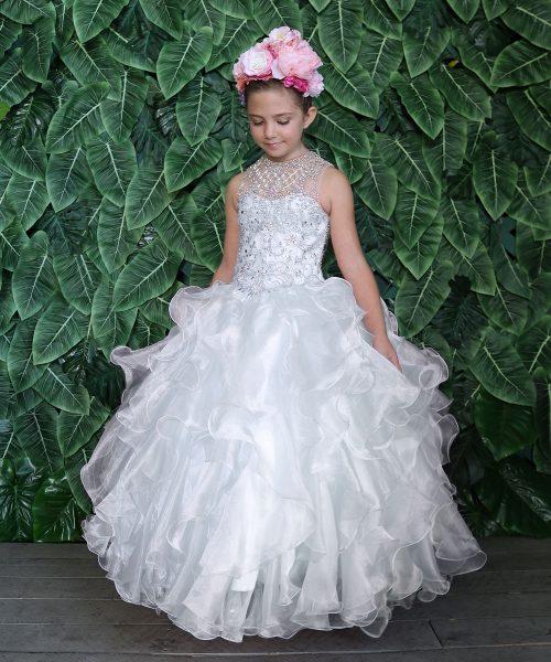 Girls Communion Ball Gown Dress with Ruffled Organza Skirt