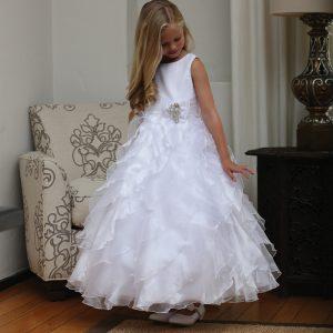 Girls First Communion Dress with Ruffled Skirt