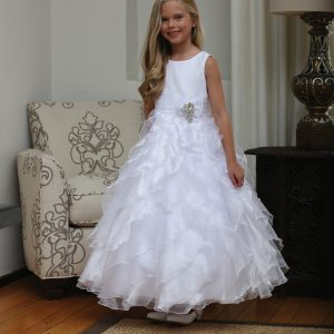 Long Length First Communion Dress with Ruffled Skirt