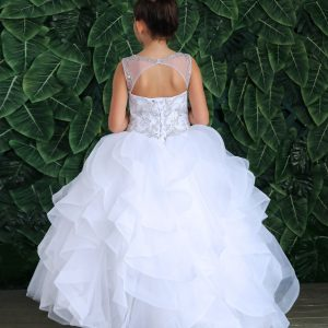 Modern First Communion Ball Gown Dress with Ruffled Trim