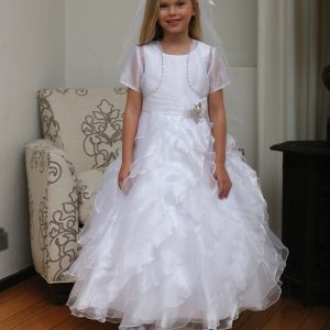 Modern First Communion Dress with Ruffled Skirt
