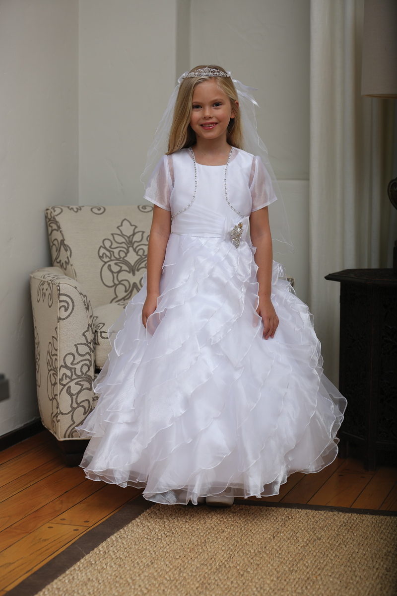 Floor Length First Communion Dresses With Ruffles First