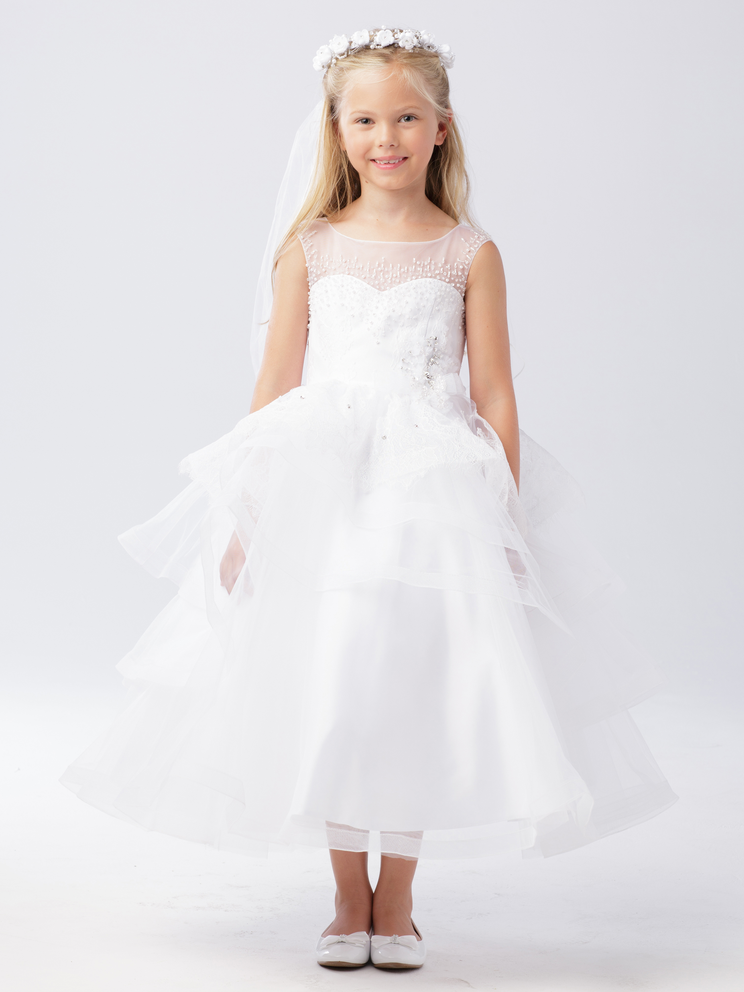 3f34bc99f8d Satin and Lace First Communion Dress with Layered Skirt