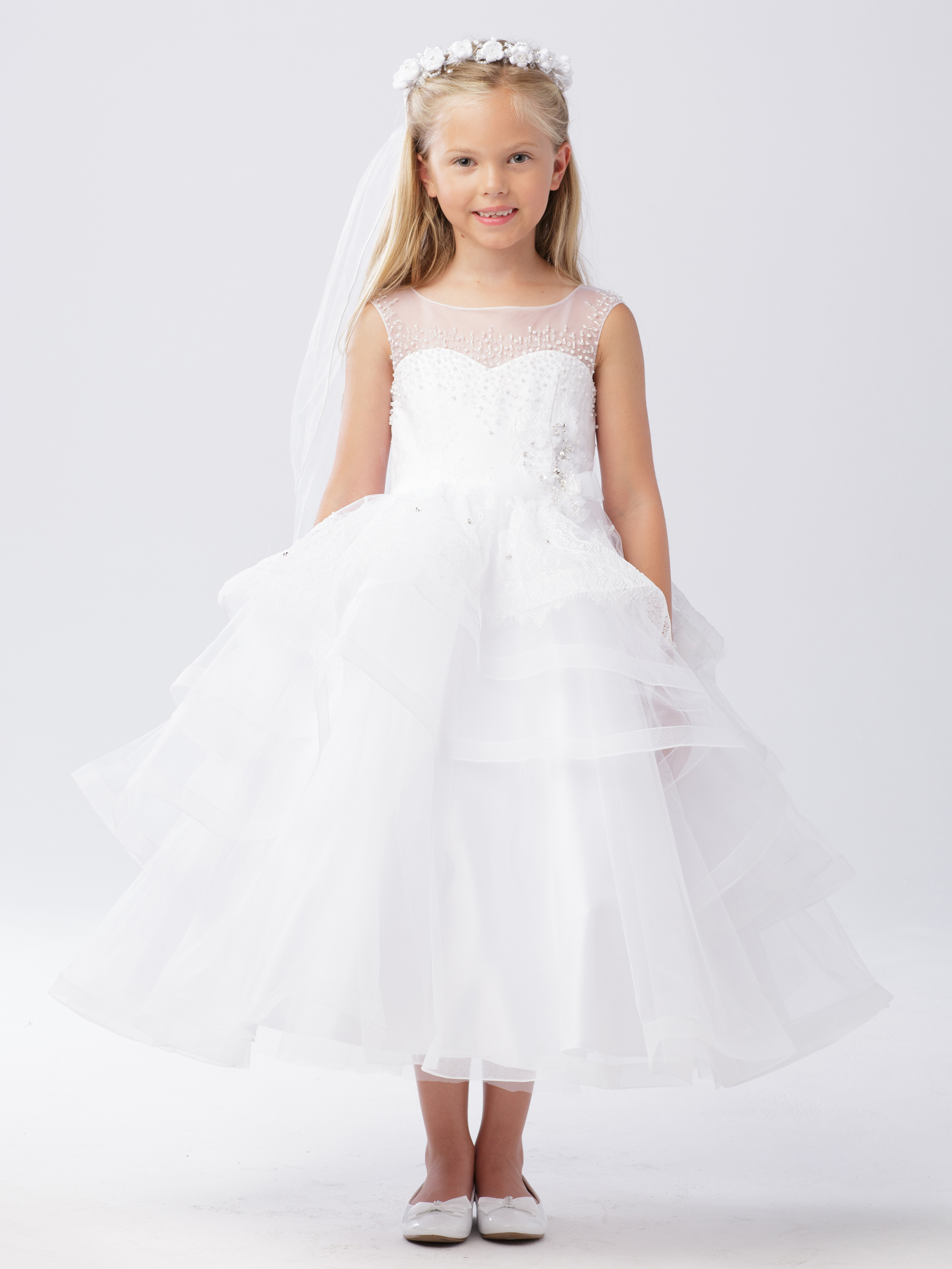 satin and lace first communion dress with layered skirt