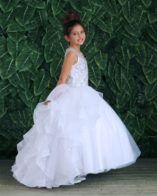 First Communion Ball Gown Dress with Ruffled Trim