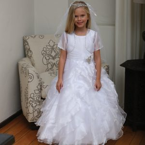 White First Communion Dress with Ruffled Skirt