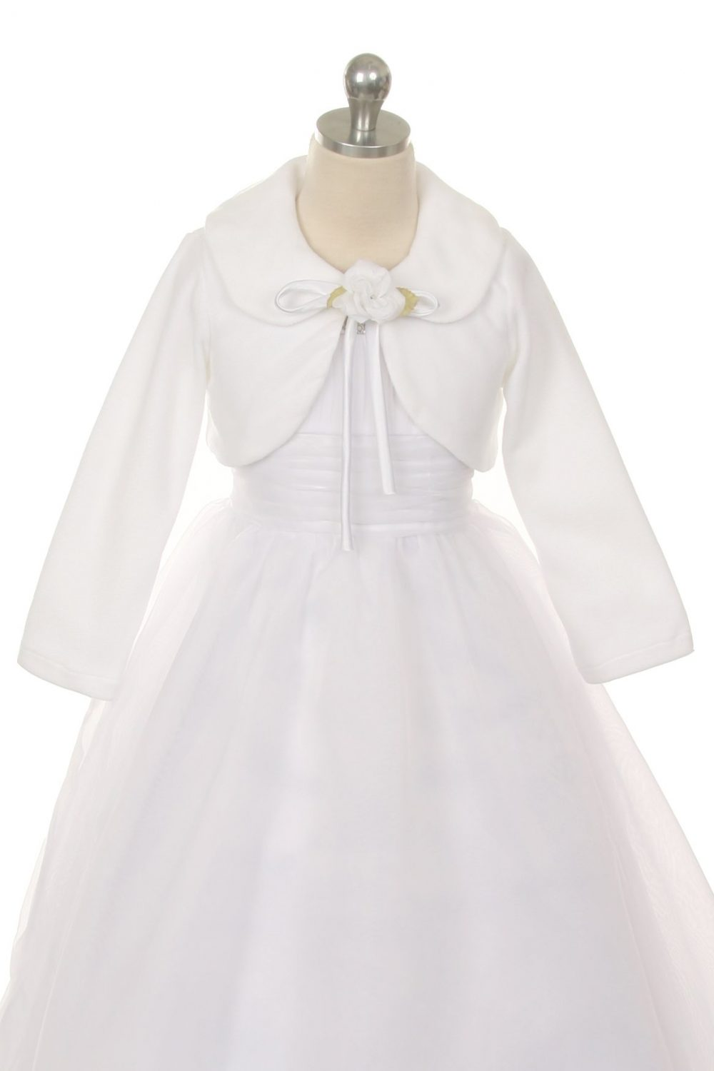 Long Sleeve First Communion Bolero Jacket with Flower