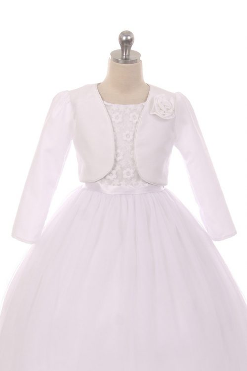 Satin Long Sleeve First Communion Bolero Jacket with Satin Flower