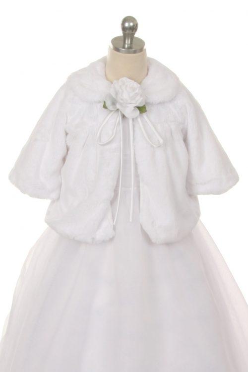 White Fleece First Communion Half Coat