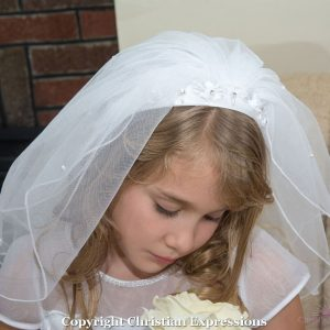 1st Communion Headband Veil with organza and Beading