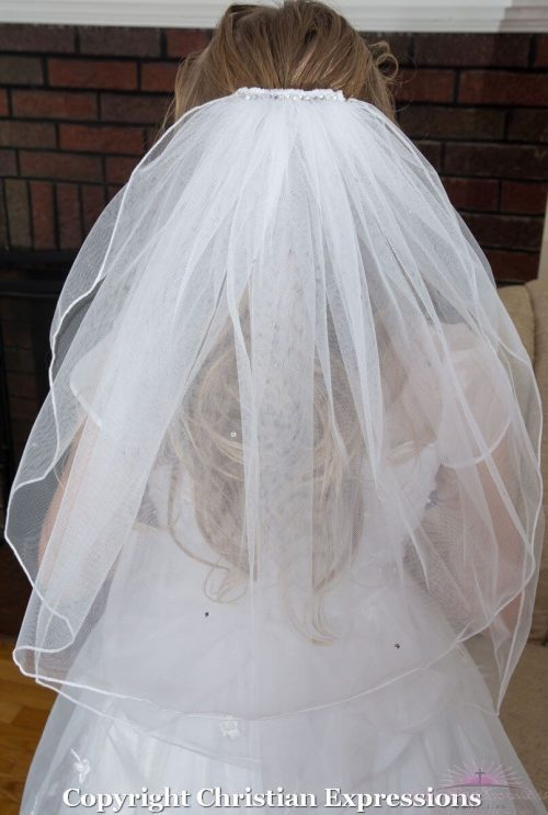 First Communion Veils with Rhinestones