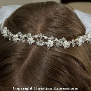 First Communion Crown Headpiece Pearls and Crystals