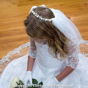 First Communion Crown Veil Pearls and Crystals
