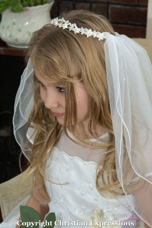First Communion Crown Veil with Pearls and Crystals