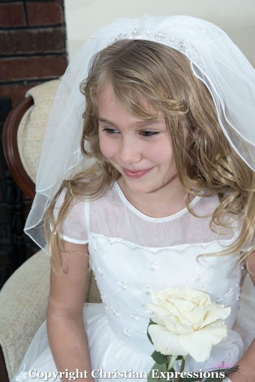 First Communion Headband Veil with Rhinestone Crystals