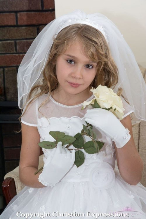 First Communion Headband Veil with organza and Beading