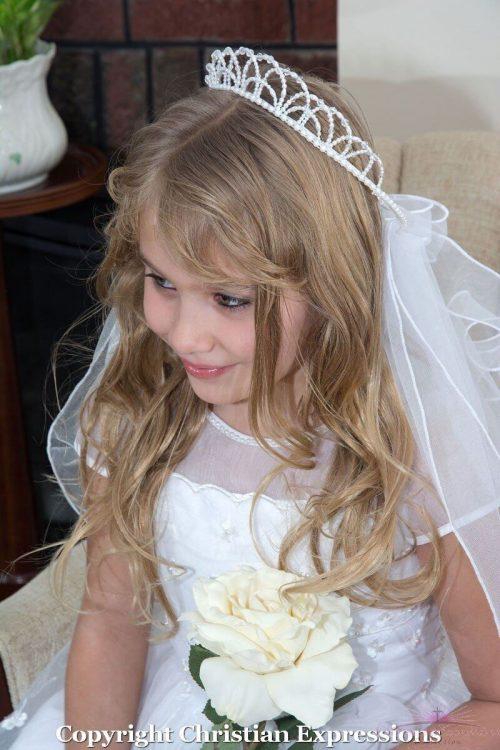 First Communion Pearl Crown Veil