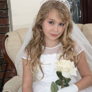 First Communion Pearl Crown Veil with Bow and Pearls