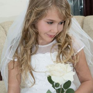 First Communion Pearl Crown Veil with Scattered Pearls