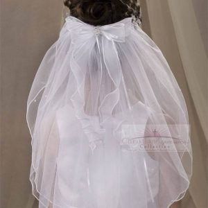First Communion Veil with Pearls and Streamers