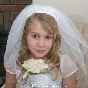 First Communion Wide Headband Veil
