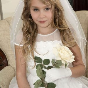 Girls Communion Crown Veil with Pearls and Crystals