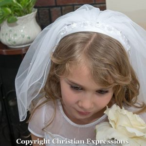 Headband First Communion Veil with organza and Beading