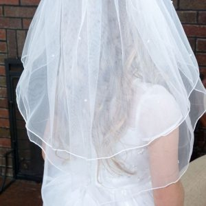 Two Tier First Communion Veil with Scattered Pearls