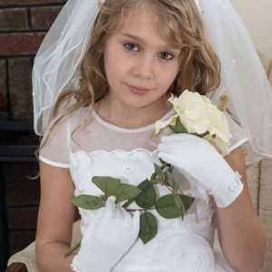 Wide Band First Communion Headband Veil with Rhinestones and Pearls